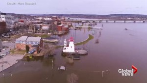 Stunning drone video shows extent of flooding in Fredericton