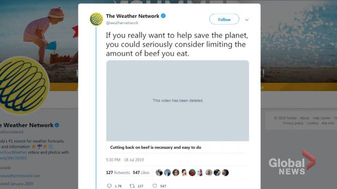 Alberta beef producers meet with Weather Network over tweet that infuriated meat eaters