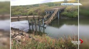 New bridge collapses into river in eastern Saskatchewan hours after