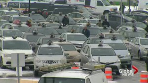 Montreal taxi drivers protest Uber