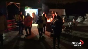 Yellow vest protesters celebrate New Year while manning blockades in Nantes