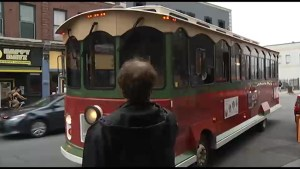 Old time trolley being used in Peterborough for Musicfest this summer