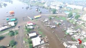 Aerial footage shows extend of the flooding in Siberia