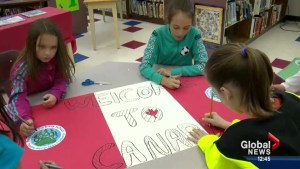 Students at Belvedere Parkway School prepare for Syrian refugees