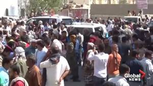 Yemenis bury military intelligence head killed in Houthi drone strike