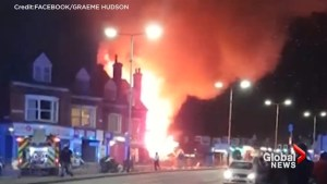 Flames rip through convenience store in Leicester, England