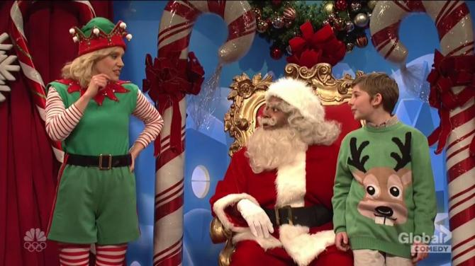 Children bombard mall Santa with controversial questions in SNL cold open