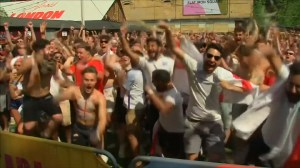 England celebrates goals and victory against Sweden at World Cup quarter final