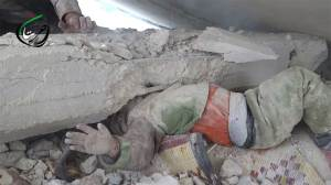 Footage shows Syrian boy rescued from concrete slab crushing his head