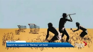 Surveillance video shows theft of pricey Banksy print from Toronto exhibit