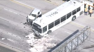 Dozens injured after a car and a bus collided in North Hills, California
