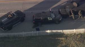 Aerial footage shows aftermath of fatal San Bernardino suspect shootout