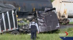 Train and semi-trailer collide in southern Alberta