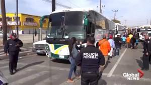 First migrants arrive at U.S. border in Tijuana (02:03)