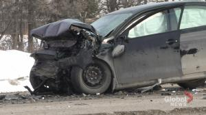 Two vehicle collision on south perimeter closes westbound lanes