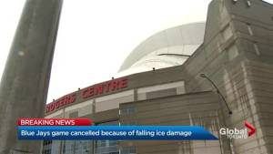 Blue Jays game cancelled after ice from CN Tower damages Rogers Centre roof