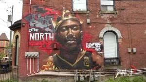Artist behind mural of Raptors' Kawhi Leonard says Toronto's energy after previous finals inspired design