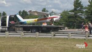 Plane crash lands on Quebec highway