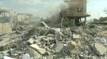 Aftermath destruction of Damascus research lab targeted by air strikes