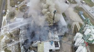 Fire drone gives birds-eye view of Dawson Road fire fight