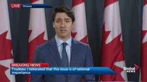 Trudeau stresses 9000 Canadian jobs on the line in SNC-Lavalin case