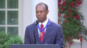 'I love you guys so much': Tiger Woods chokes up while thanking family at Medal of Freedom ceremony