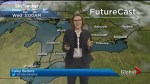 Mainly sunny with a high of 8°C for Wednesday, mixed precipitation moves in overnight