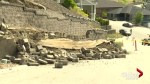 Kelowna street unsafe following retaining wall landslide