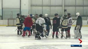 Spruce Grove shinny game played in honour of Parker Tobin and Conner Lukan