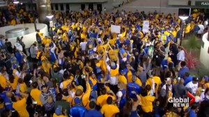 Golden State Warriors fans celebrate NBA championship