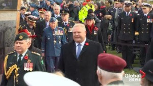 Premier Doug Ford pays tribute to Canada's war heroes at Queen's Park Veterans' Memorial