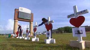 Crosses crafted for Texas high school shooting victims
