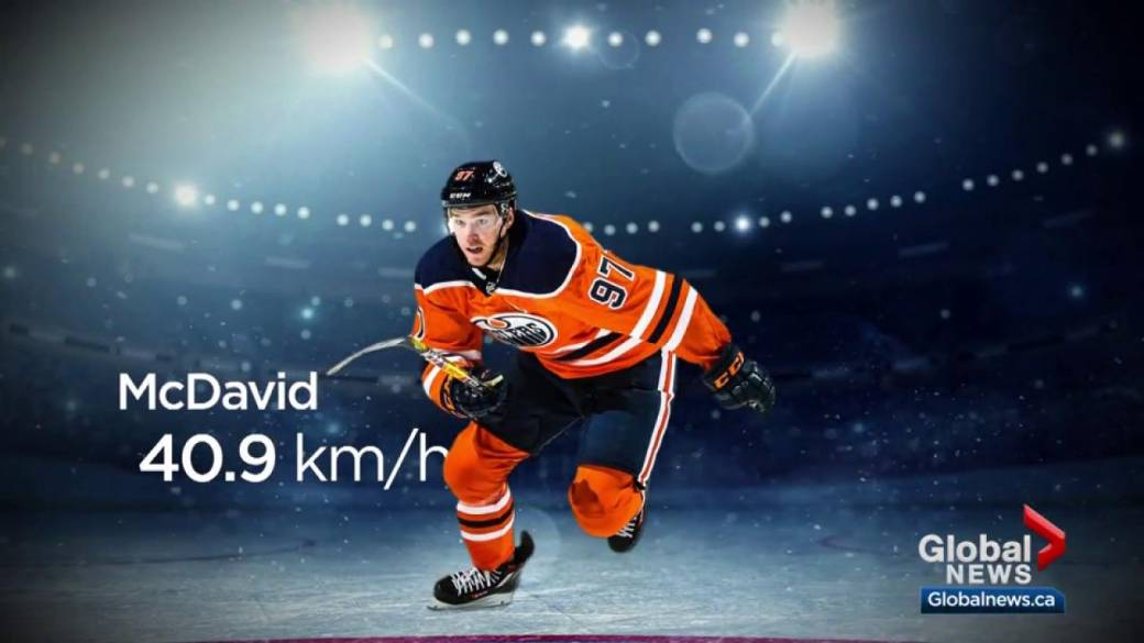 Click to play video 'Edmonton Oilers' McDavid clocked going over 40 km/h while scoring goal against the Calgary Flames'