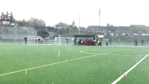 Vancouver hail storm pelts the pitch at local soccer match