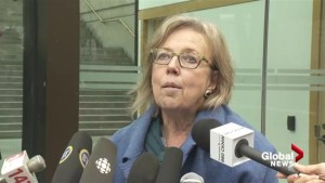 Elizabeth May slams 'artificial' Kinder Morgan deadline outside of B.C. courthouse