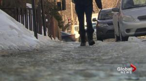 Icy sidewalks in some Montreal boroughs