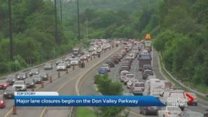 Lane closures along DVP causes traffic snarls