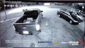 Security footage shows Tesla launching off railway tracks in Barrie, ON