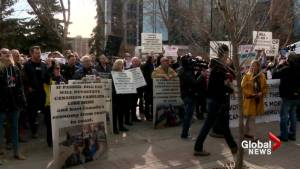 Protesters rally outside Bill C-69 Senate hearings in Calgary