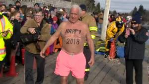 Raw video of 83-year-old Arnie Ross participating in the 2018 Polar Bear Dip.