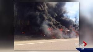 Deadly crash south of Fort McMurray sparks fire