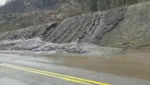 Mudslide on Hwy 33 near Rock Creek