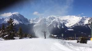 Snowboarder rides through rare 'snow-nado' at Lake Louise