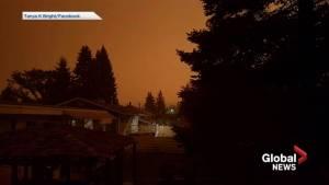 Wild fire smoke darkens Prince George sky