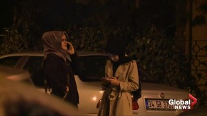 Video from night of Khashoggi's disappearance shows fiance waiting outside Saudi consulate