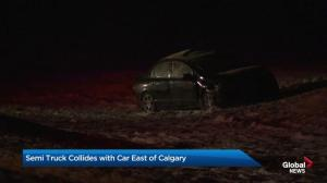Semi truck collides with car east of Calgary