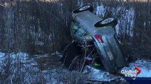 Alberta man recovering in hospital after spending frigid night in overturned car