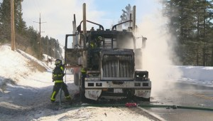 Big rig destroyed as fireball chases Okanagan trucker out of cab