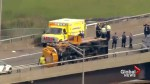 Aerial footage after school bus overturned on New Jersey Turnpike