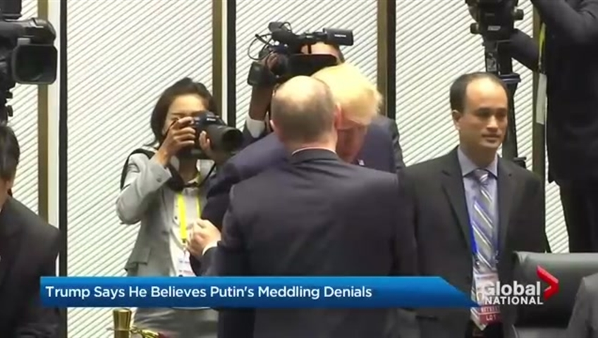 Click to watch video 'President Trump appears to support Putin's claim that Russia did not interfere in the elections'